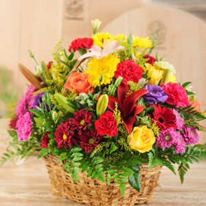 Bright Country Flowers in a Basket