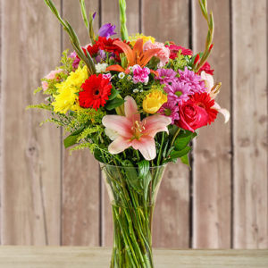 Glass Vase of Colourful Flowers
