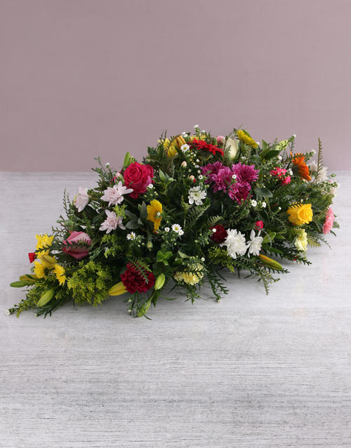 Floral Mix Funeral and Coffin Display
