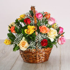 Mixed Country Rose Basket