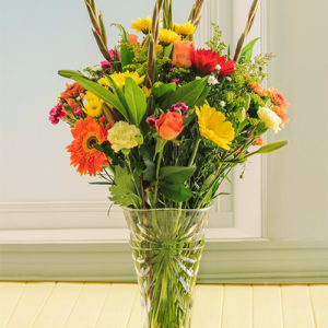 Bright Mixed Flowers in a Oasis Crystal Vase