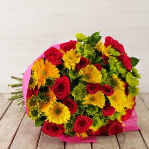 Mixed Pink & Yellow Flower Bouquet