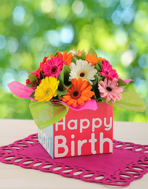 Happy Birthday Box of Mini Gerberas