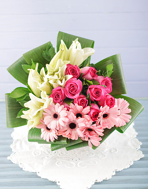 Lily Gerbera and Rose Bouquet