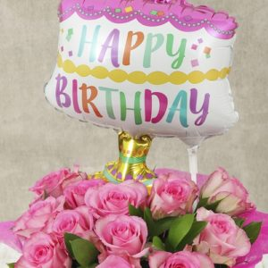 Happy Birthday Pink Rose and Cake Balloon Box