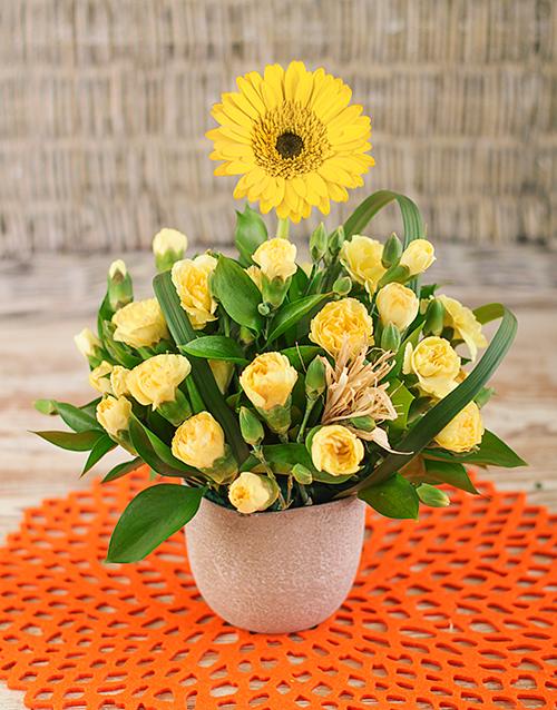 Gerbera Among Mini Carnations in Petite Vase
