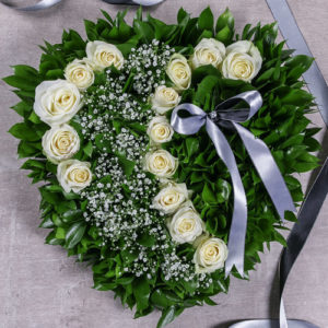 White Rose Funeral Heart Sympathy Flowers