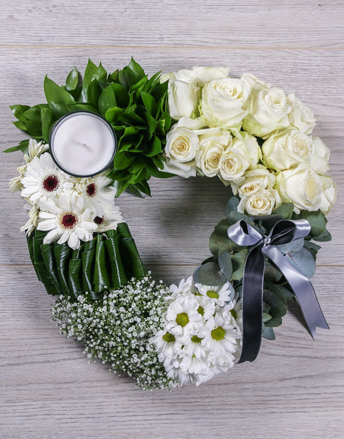 Green and White Funeral Heart