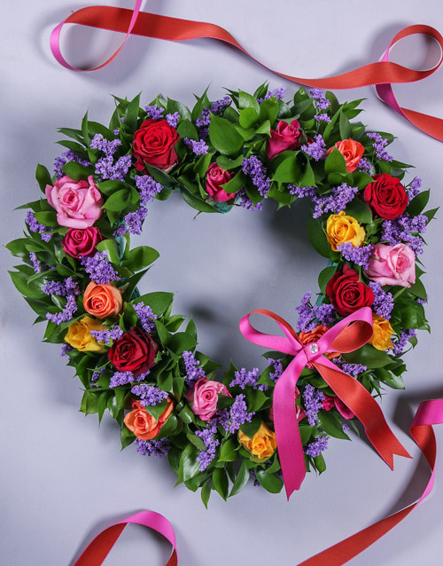 Mixed Rose Funeral Heart