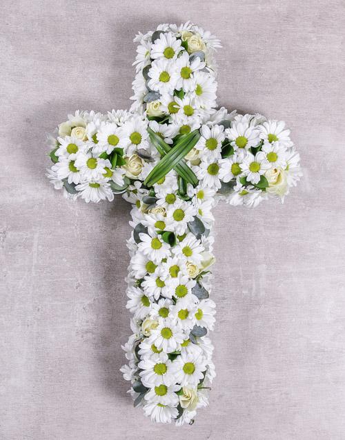White Funeral Cross Flower Arrangement