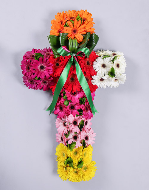 Mixed Gerbera Funeral Cross