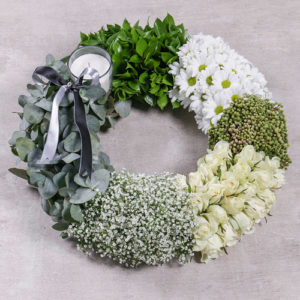 Green and White Sympathy Wreath