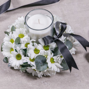 White Spray Sympathy Candle