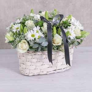 White Sympathy Flower Basket