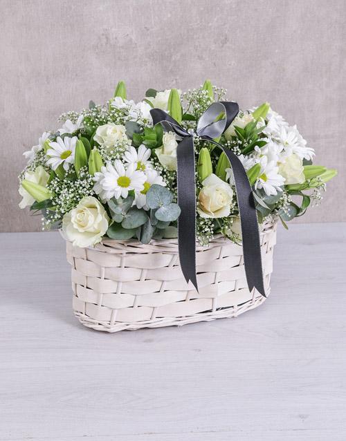White Sympathy Flower Basket