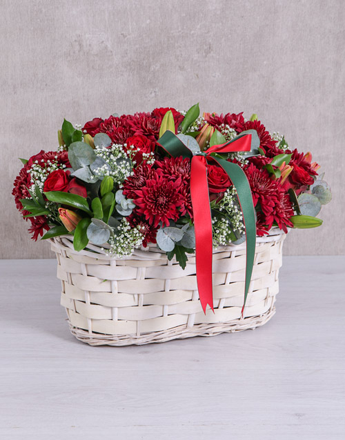 Red Sympathy Flower Basket