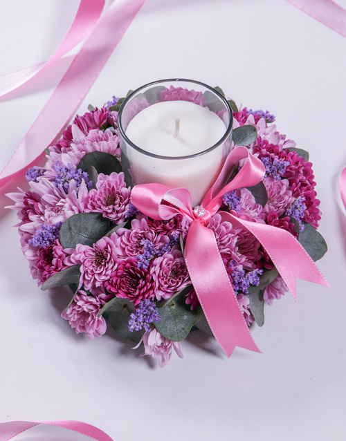 Pink and Purple Spray Sympathy Candle