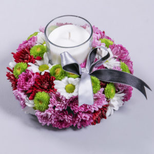 Mixed Flower Spray Sympathy Candle