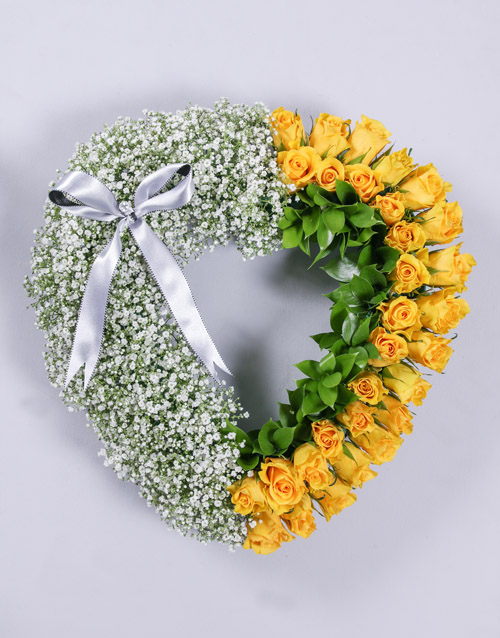 Yellow Rose and Million Star Funeral Heart