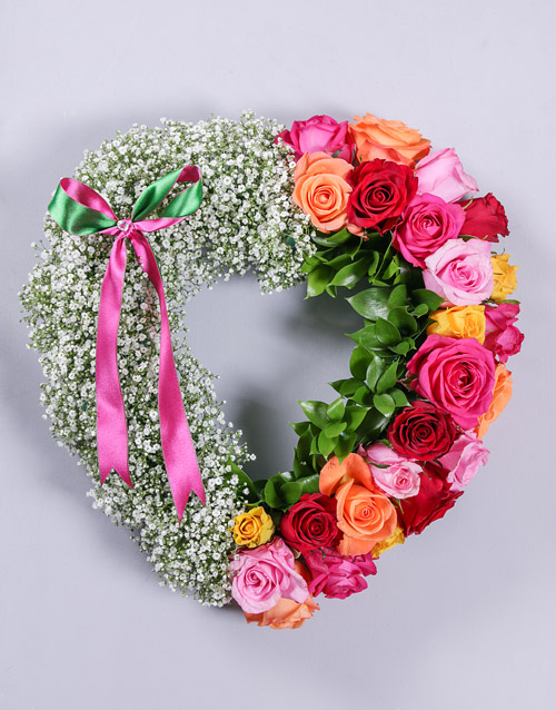 Mixed Rose and Million Star Funeral Heart