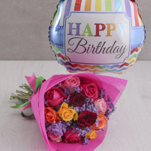 Mixed Roses and Birthday Balloon