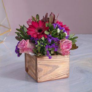 Lilac Florals in a Wooden Crate