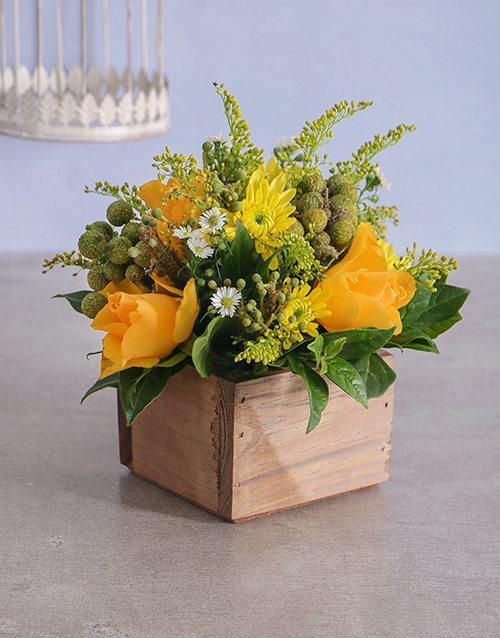 Gold Florals in a Wooden Crate