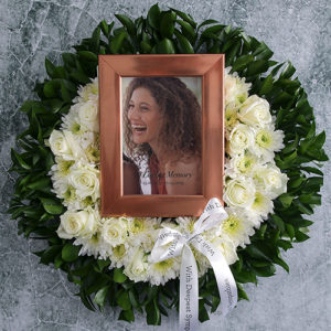 Personalised White Rose Memorial Wreath
