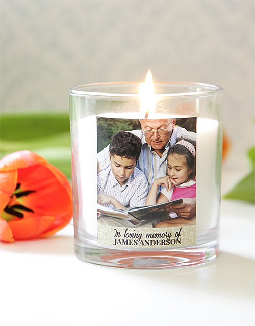 Personalised In Loving Memory Photo Candle