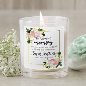 Personalised Floral In Loving Memory Candle