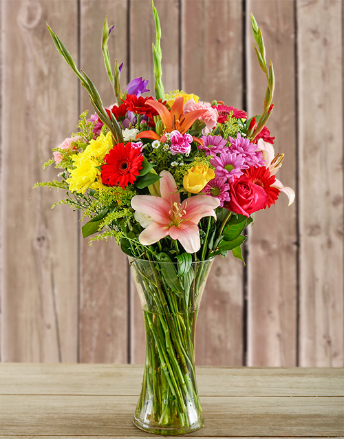 Glass Vase of Colourful Flowers For Mother's Day