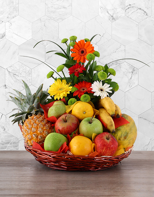 Flower and Fresh Fruit Basket For Mother's Day