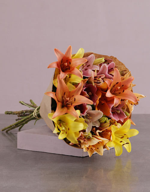 Lovely Lilies in Craft Paper For Mother's Day