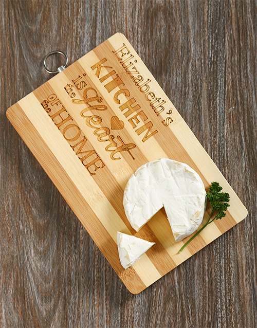 Personalised Heart Of The Home Chopping Board For Mother's Day
