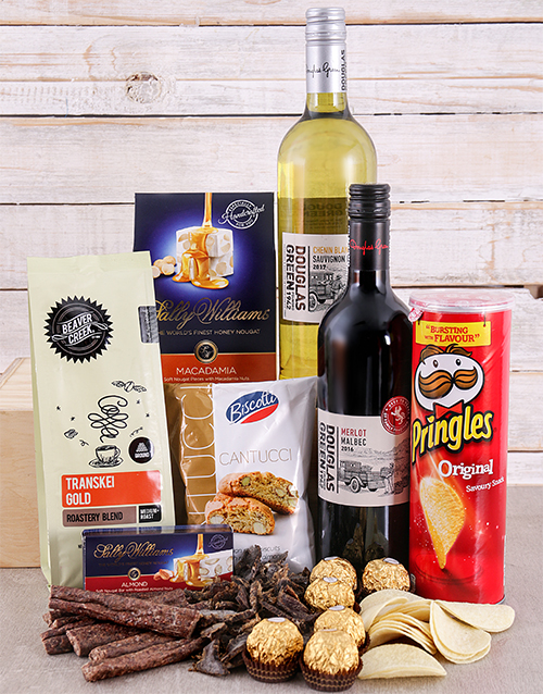 Gift Box of Wine Biltong and Chocolates For Mother's Day
