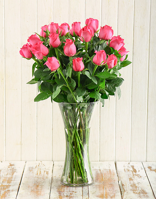 Cerise Roses in a Vase For Mother's Day