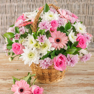 Mixed Pink Basket Display For Mother's Day