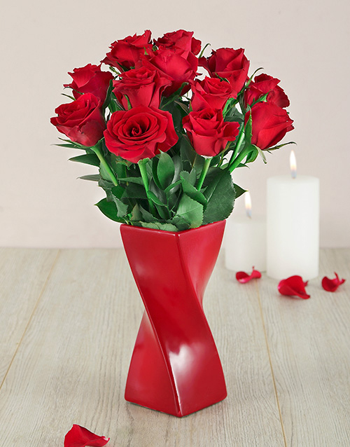 Red Roses in a Red Twisty Vase For Mother's Day