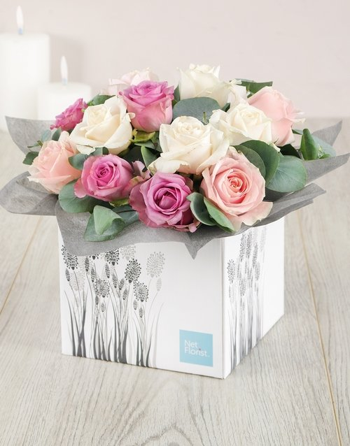 Pastel Box of Roses