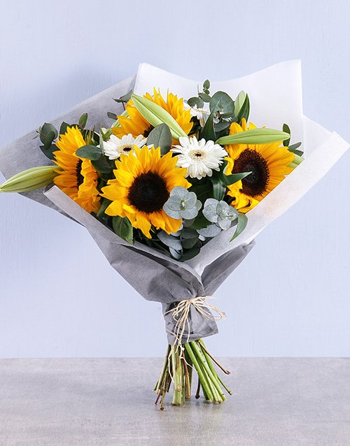 Peaceful Sunflower Mothers Day Bouquet
