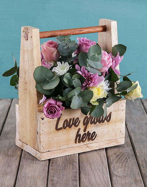 Mothers Day Love Grows Flower Crate