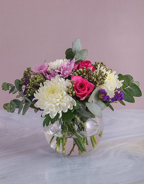 Mothers Day Blooms In Round Vase