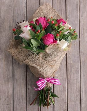 Pink and White Hessian Mix