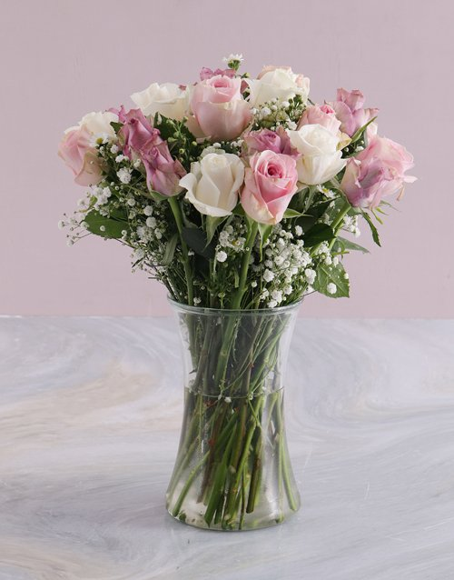 Mothers Day Pastel Mixed Rose Arrangement