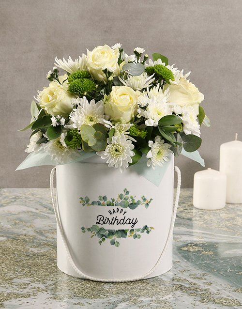 Mothers Day Floral Mix White Hat Box