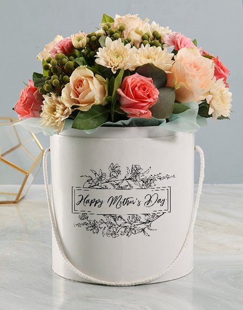 Mothers Day Pastel Floral Mix White Hat Box