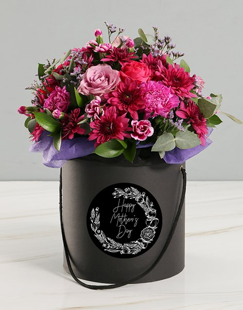 Mothers Day Pink Floral Mix Black Hat Box