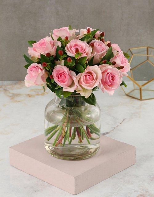 Peaceful Pink Roses Arrangement