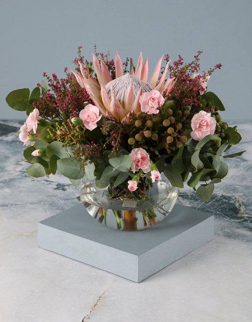 Protea And Carnation Mothers Day Arrangement