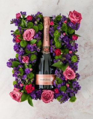 Mothers Day Purple Blooms Champagne Crate
